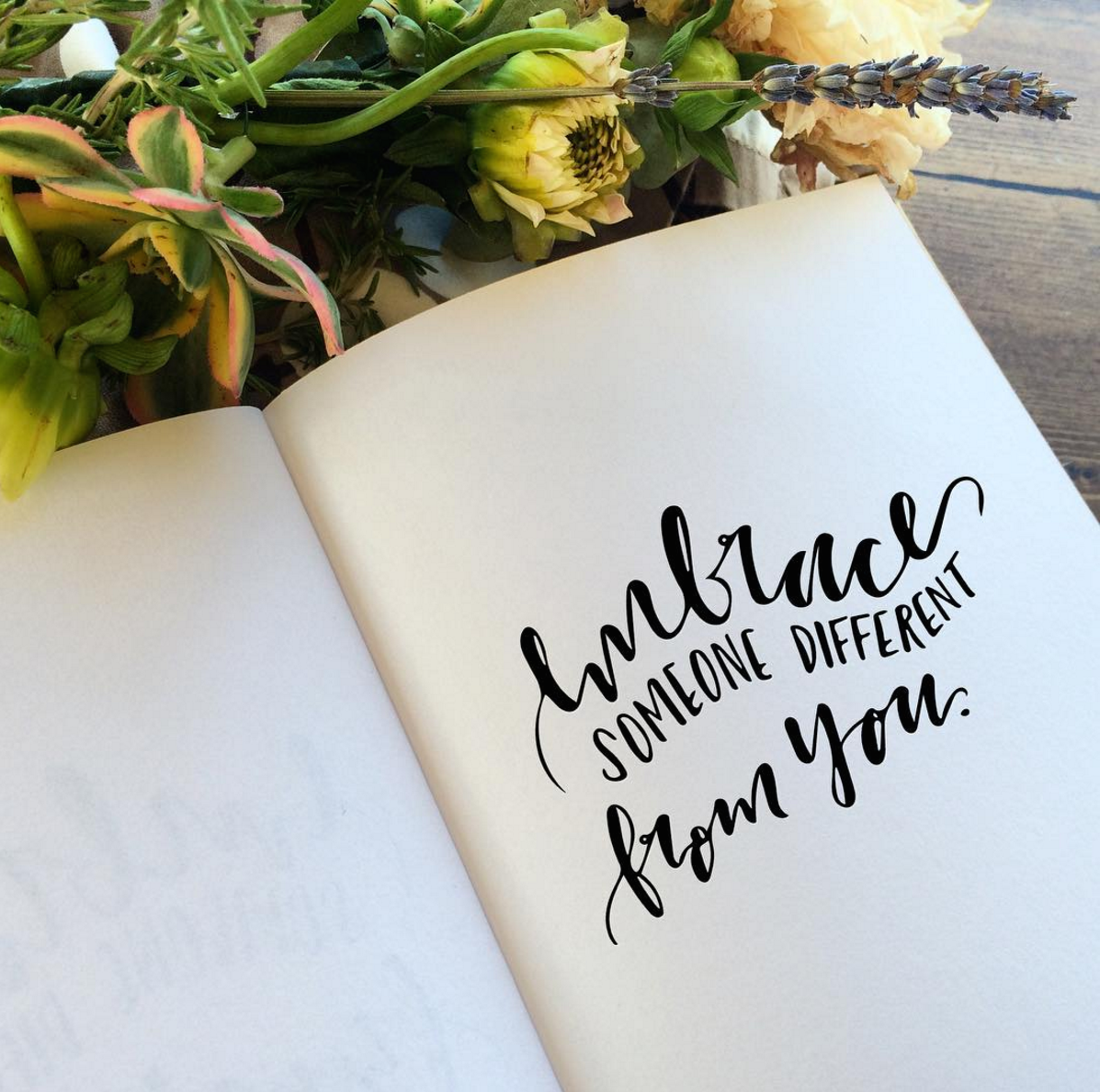 Lettering Example with words Embrace Someone Different